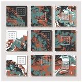 Мраморная текстура на карточке приглашения Стоковое Изображение