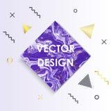 Мраморная текстура с предпосылками знамени стиля элемента Мемфиса, картинами геометрических элементов градиента золота Ультрамодн бесплатная иллюстрация