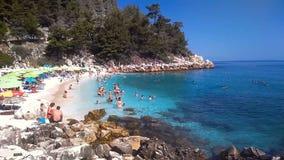 Мраморный пляж, остров Thassos, Греция сток-видео