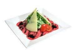 мрамор итальянки тарелки carpaccio говядины Стоковая Фотография