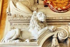 мрамор льва детали стоковое изображение rf