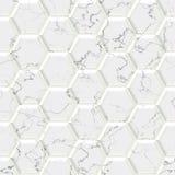 Мрамор - чернота, бело- безшовная предпосылка шестиугольника Стоковое Фото