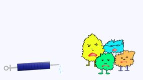 Мрачные шуточные бактерии или вирус испуганные шприца иллюстрация штока