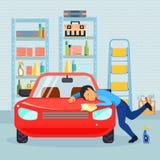 Мужская влюбленность его состав автомобиля иллюстрация штока
