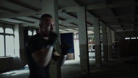 Мужская груша боксера спортсмена с драматическим нервным освещением в темной студии акции видеоматериалы