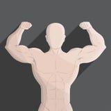 Мужская иллюстрация серого цвета спортзала мышцы Стоковое Изображение RF