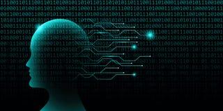 Мужская концепция технологии искусственного интеллекта с бинарным кодом иллюстрация вектора