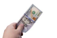 Мужская рука держа 100 банкнот доллара Стоковые Изображения RF