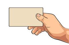 Мужская рука держа визитную карточку чистого листа бумаги иллюстрация вектора
