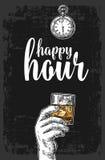Мужская рука держа стекло с кубами вискиа и льда Винтажная иллюстрация гравировки вектора для ярлыка, плаката, меню Стоковые Изображения