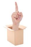 Мужская рука при картонная коробка жеста идеи внутренняя изолированная на whi Стоковые Фото