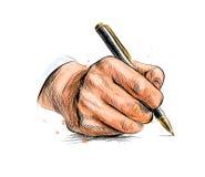 Мужская рука с ручкой от выплеска акварели иллюстрация штока
