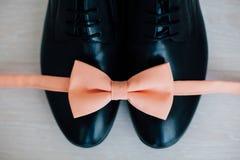 Мужские ботинки и розовая бабочка Стоковое Изображение