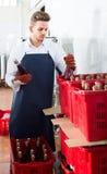 Мужские бутылки вина упаковки работника на фабрике игристого вина Стоковое Изображение