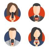 Мужские и женские значки воплощения читателя новостей Стоковая Фотография RF