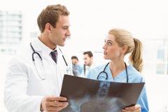 Мужские и женские доктора рассматривая рентгеновский снимок Стоковые Фото