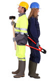 Мужские и женские работники физического труда Стоковые Фото