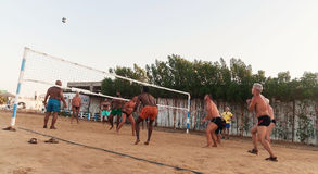 мужские кавказцы, арабы, африканцы играя волейбол на пляже стоковая фотография rf