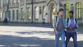 Мужские лучшие други идя около академии и говоря друг с другом студенты сток-видео