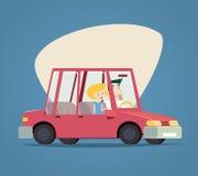 Мужские ретро автомобиля шаржа счастливые и женские характеры Стоковая Фотография