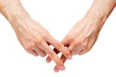 Мужские руки в решетке Стоковые Изображения RF