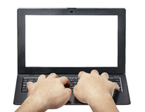 Мужские руки печатая изолированное вид спереди клавиатуры компьтер-книжки Стоковые Фотографии RF