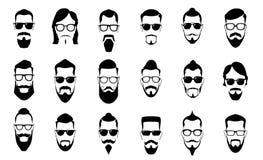 Мужские усик, борода и стрижка Винтажные силуэты усиков, стиль причесок человека и силуэт вектора портрета стороны парня иллюстрация штока