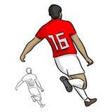 Мужские футболисты с illustrat вектора 16 идущим Стоковые Изображения RF