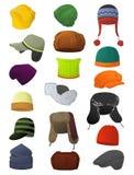 Мужские шляпы зимы Стоковое Изображение