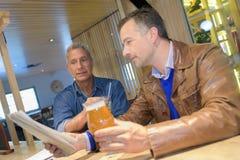 2 мужских друз имея пиво в пабе Стоковое Изображение RF
