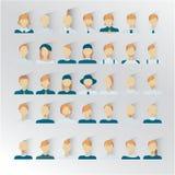35 мужских значков для intarfase потребителя, цвета светлых волос иллюстрация вектора