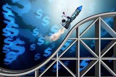 Мужское летание бизнесмена на ракете в концепции дела Стоковое Изображение RF