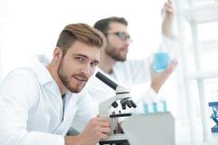 Мужское научное исследование приведения в исполнение исследователя в лаборатории Стоковые Фото