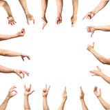 Мужское собрание жеста рукой и знака изолированное над белым backgr Стоковая Фотография