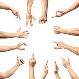 Мужское собрание жеста рукой и знака изолированное над белым backgr Стоковое фото RF