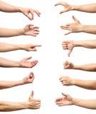 Мужское собрание жеста рукой и знака изолированное над белым backgr Стоковая Фотография RF