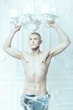 Мужской альбинос с красивой диаграммой Стоковые Фото