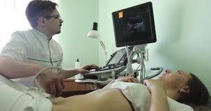 Мужской доктор рассматривая органы ` s женщины подбрюшные используя блок развертки ультразвука акции видеоматериалы