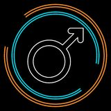 Мужской значок знака Мыжской символ секса иллюстрация штока