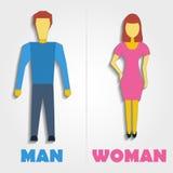 Мужской и женский значок символа уборного также вектор иллюстрации притяжки corel Стоковые Изображения