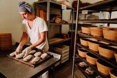 Мужской кашевар формируя тесто для печь хлеба Стоковое Изображение RF