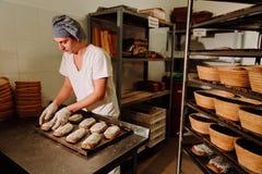 Мужской кашевар формируя тесто для печь хлеба Стоковые Изображения