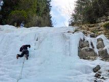 Мужской лед руководства гида горы взбираясь замороженный водопад в глубокой зиме в Альпах Швейцарии Стоковое Фото