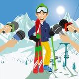 Мужской лыжник интервьюированный на пресс-конференции после конкуренции иллюстрация вектора