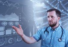 Мужской доктор и виртуальный компьютер взаимодействуют в иллюстрации 3D Стоковая Фотография RF