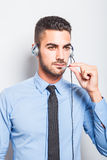 Мужской оператор, красивый испанский человек в официально носке Стоковое фото RF