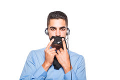 Мужской оператор, красивый испанский человек в официально носке Стоковые Изображения