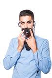 Мужской оператор, красивый испанский человек в официально носке Стоковое Фото