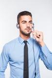Мужской оператор, красивый испанский человек в официально носке Стоковые Фото