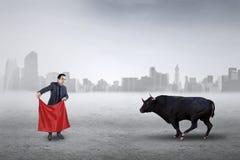 Мужской предприниматель воюя с быком Стоковые Изображения RF